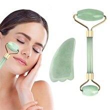 Double Heads Jade Roller Massageador Jade Stone Lift Face Skin Relaxation Facial Massage Slimming Be