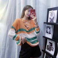 cheap wholesale 2021 spring summer autumn new fashion casual warm nice women sweater woman female ol striped sweater bay122