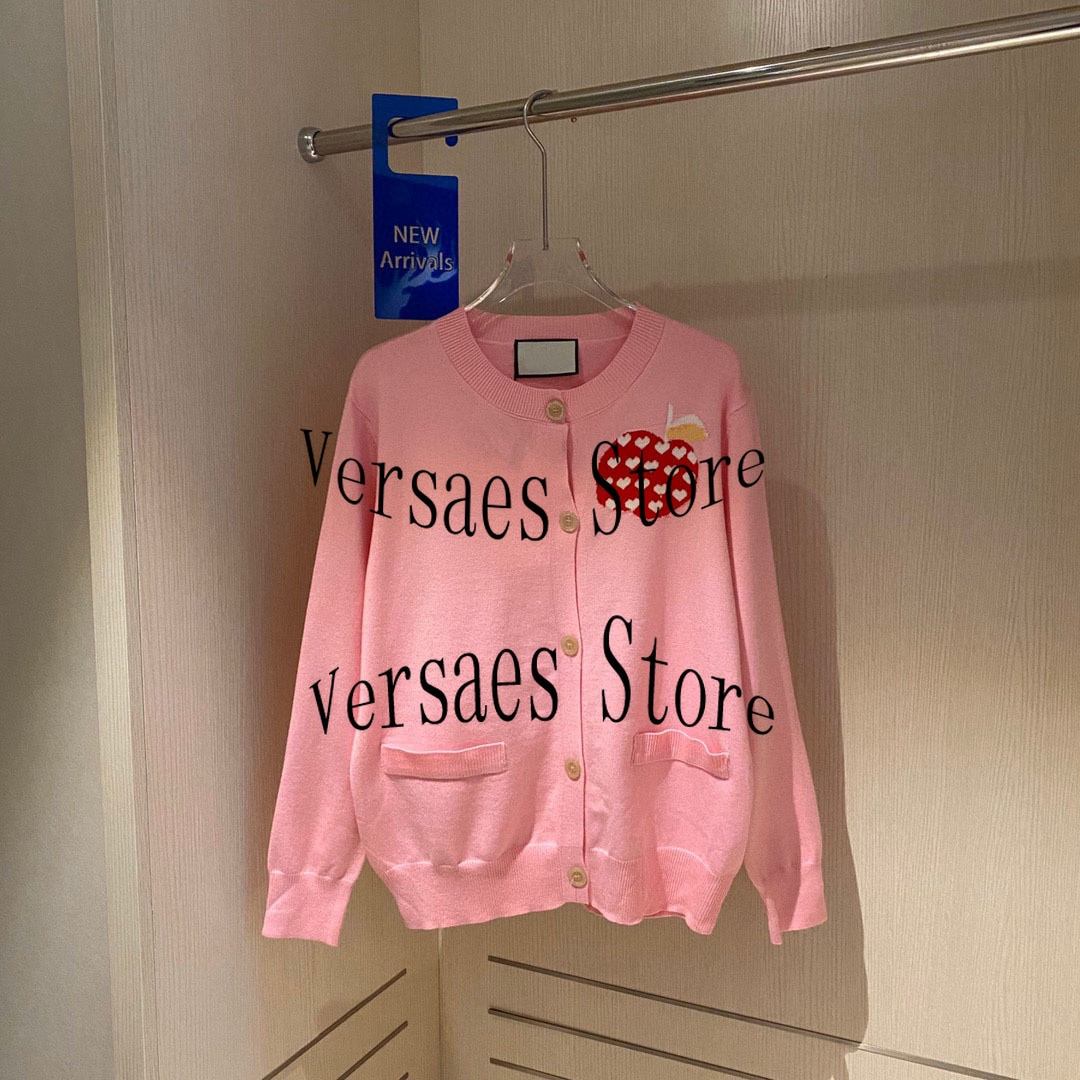21luxury brand peach heart Apple printing fashion women's temperament round neck Versatile Single breasted long sleeved Pullover enlarge