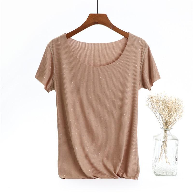 2020 WOMEN Ice silk silver round neck bottoming shirt female slim summer women's large size t-shirt female short sleeve