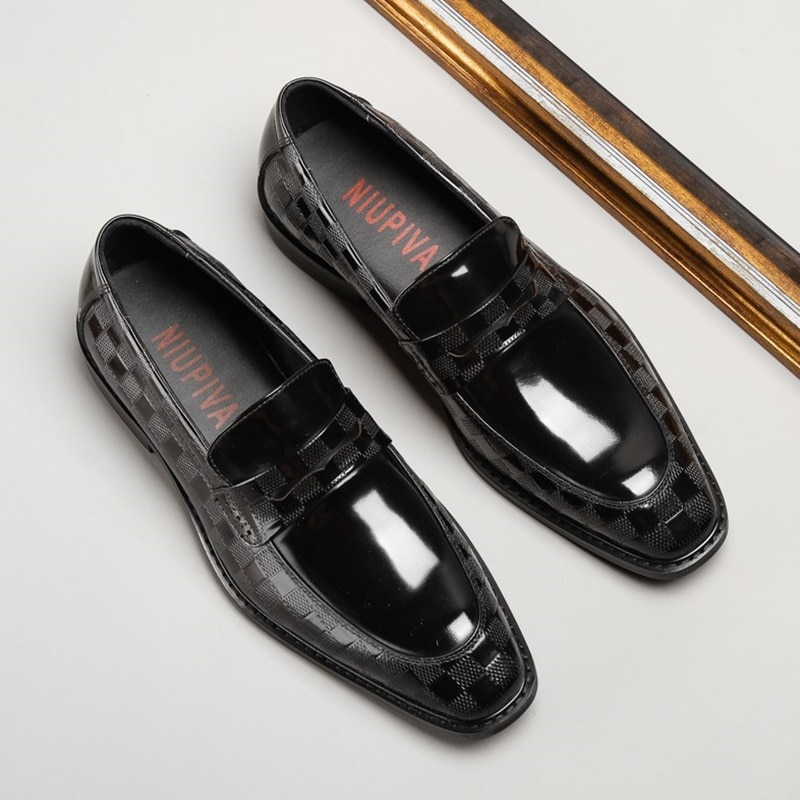 Купить с кэшбэком C.G.N.P Patent Leather Loafers Metallic Silver Paint Leather Formal Shoes Men Luxury Slip On Dress Shoes Business Casual Shoes