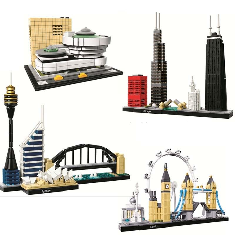 10678 architektur Gebäude Set London Dubai 21034 Big Ben Tower Bridge Modell Baustein Ziegel Spielzeug Lepining geschenke 21052