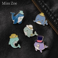 blue whale wearing a hat enamel pin seabed magic show dolphin metal badge bag clothes hat brooch animal jewelry gift for friends