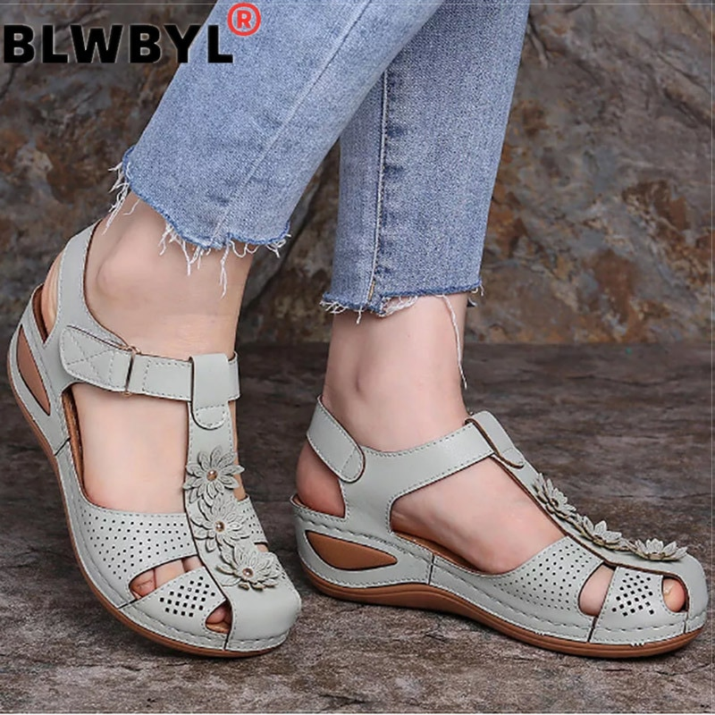Women Sandals Plus Size 44 Wedges Shoes Woman Heels Sandals Chaussures Femme Soft Bottom Platform Sandals Gladiator Sandalias