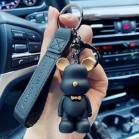 cute resin keychain charm tie the bear pendant for women bag car keyring mobile phone fine jewelry accessories kids girl gift