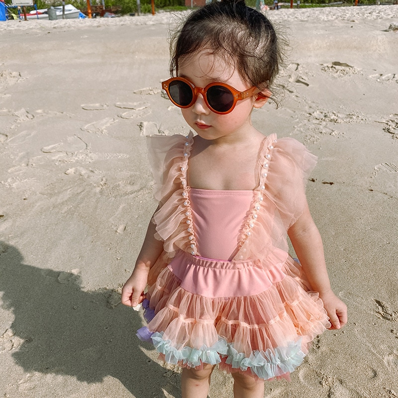 Children's Swimsuit Girl Baby Little Princess One-piece Dress Pearl Lace Fashion Skirt Two-piece Tide Kid Clothes XB49
