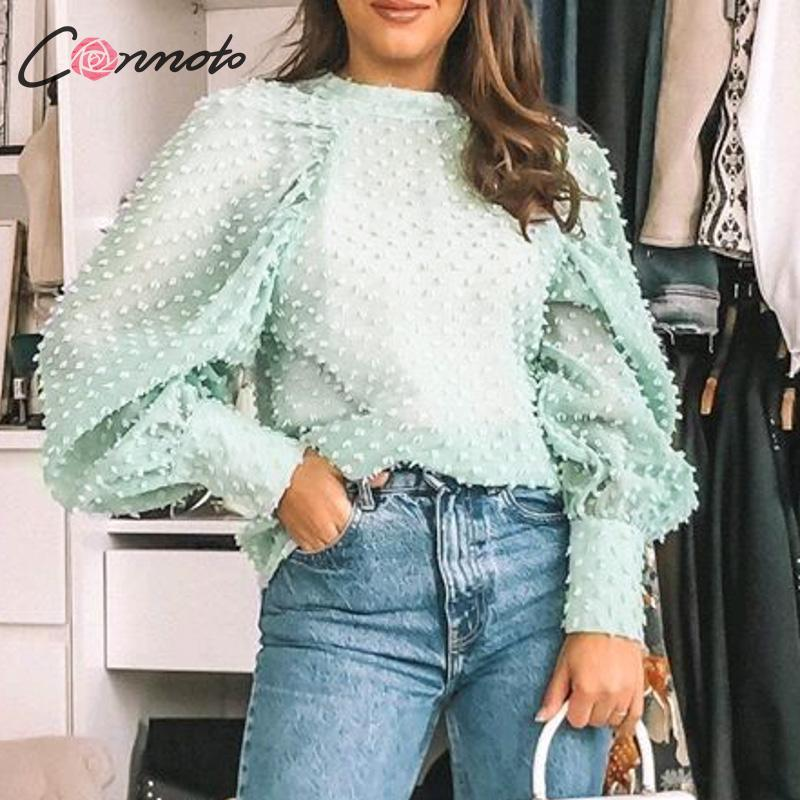 Conmoto polka dot lanterna manga chiffon blusas sexy mujer alta moda blusa verde camisa casual transparente femme
