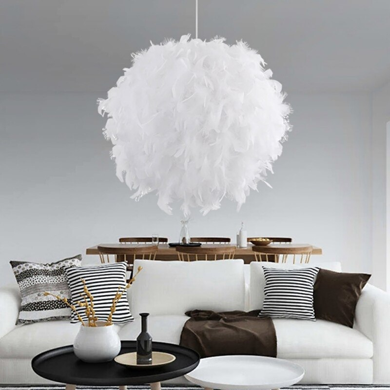 Lámpara de diseño de pluma romántica, fundas y sombras de lámpara LED modernas, lámpara de plumas blanca única para decoración del hogar, lámpara de plumas