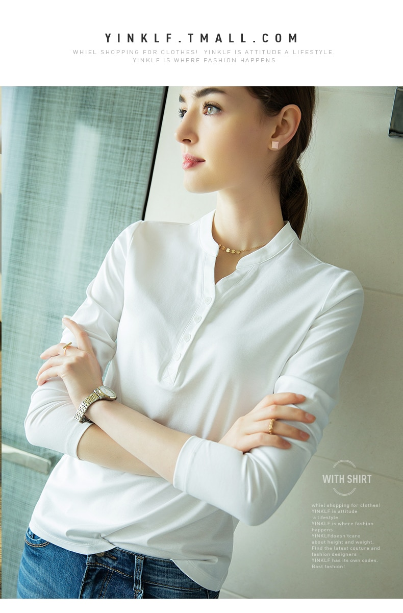 2019 autumn winters v-neck render into new long sleeve T-shirt female jacket unlined upper garment
