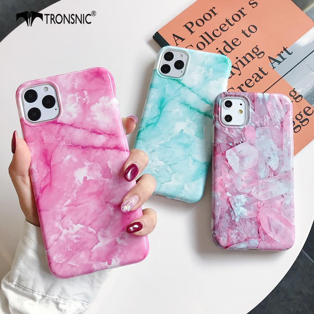 Textura mármol funda para teléfono para iPhone 11 Pro Max XR X XS MAX suave rosa azul hielo de lujo carcasa para iPhone 6s 7 8 Plus funda de silicona