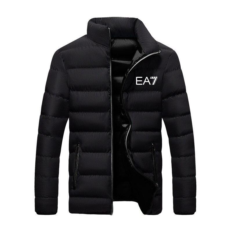 EA7-Men's winter thick cotton coat casual stand-up collar winter warm coat zipper cotton coat parka