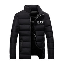 EA7-Men's winter thick cotton coat casual stand-up collar winter warm coat zipper cotton coat parka