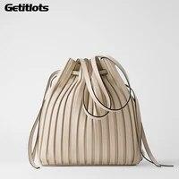 2021 design fashion shoulder bag pleated stripe bucket bag lady crossbody bag for women bag purses and handbags luxury designer