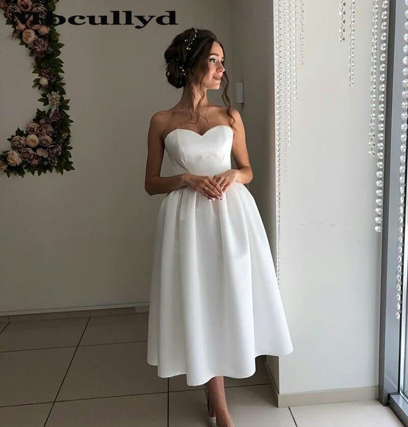 Mbcullyd Sweetheart té largo Vestido De boda corto 2020 elegante A línea Bohemia playa vestidos novia para mujer Vestido De Noiva