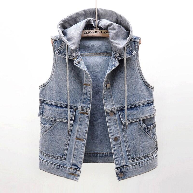 Съемный джинсовый жилет с капюшоном и большими карманами, женский жилет, Модный облегающий короткий джинсовый жилет, винтажная синяя куртк...
