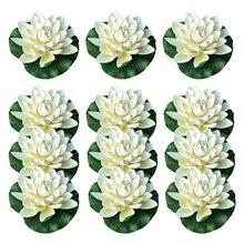 Fleurs de Lotus flottantes artificielles 12 pièces   Avec coussin de nénuphar, blanc ivoire, parfait pour Patio, étang Koi, Aquarium de piscine
