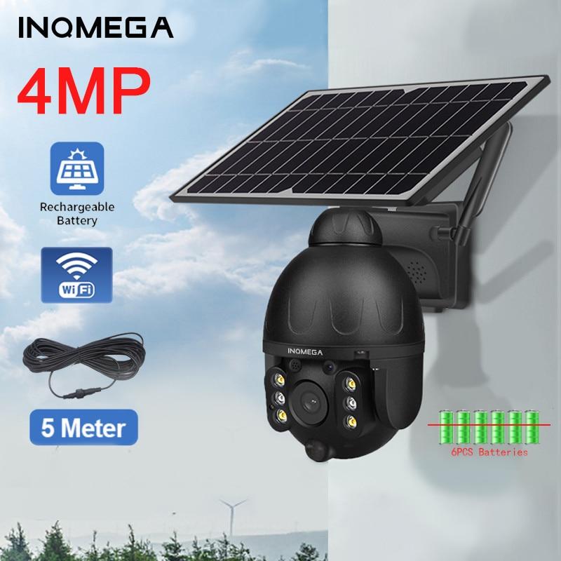INQMEGA Solar Camera Wifi 4MP HD PTZ Outdoor PIR Security Camera Ai Humanoid Detection CCTV Battery Detachable Solar Pane UBOX