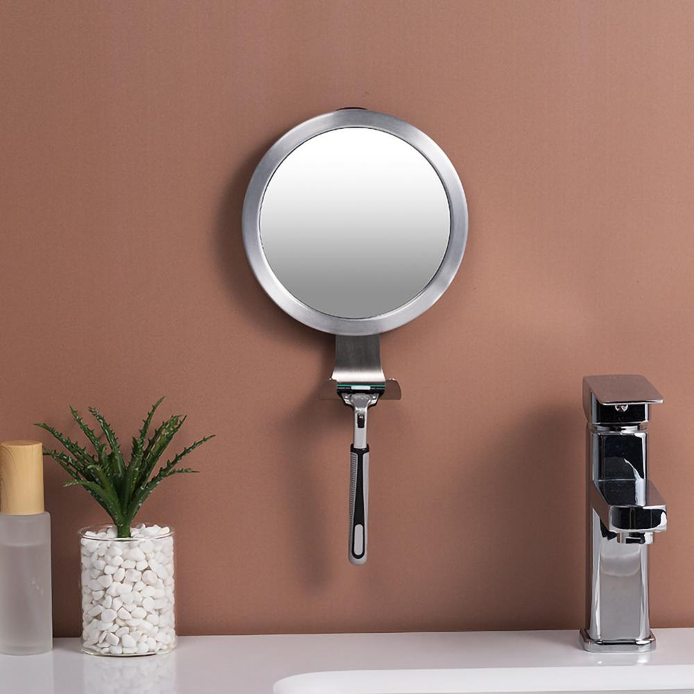 Stainless Steel Anti Fog Shower Mirror Bathroom Shaving wall Vanity Makeup Supplies With Suction Cup Hoo