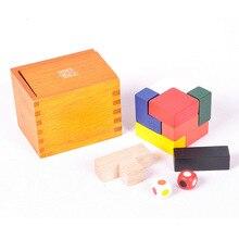 Clássico brinquedos de madeira educativos kongming bloqueio luban blocos de construção mutáveis caixa pandora desafio iq jogo presente