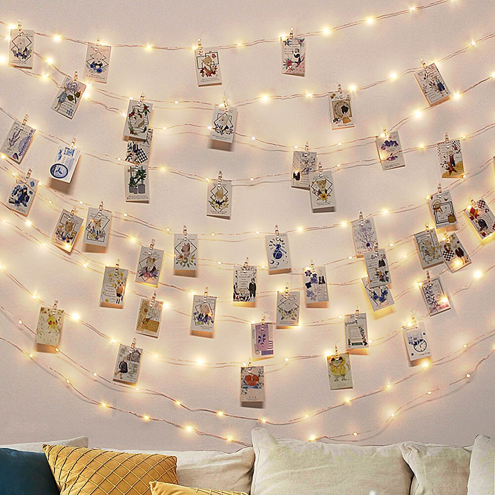 2M/5M/10M Clip de foto USB LED cadena de luces de hadas al aire libre operado por batería guirnalda decoración de Navidad para fiestas bodas Navidad