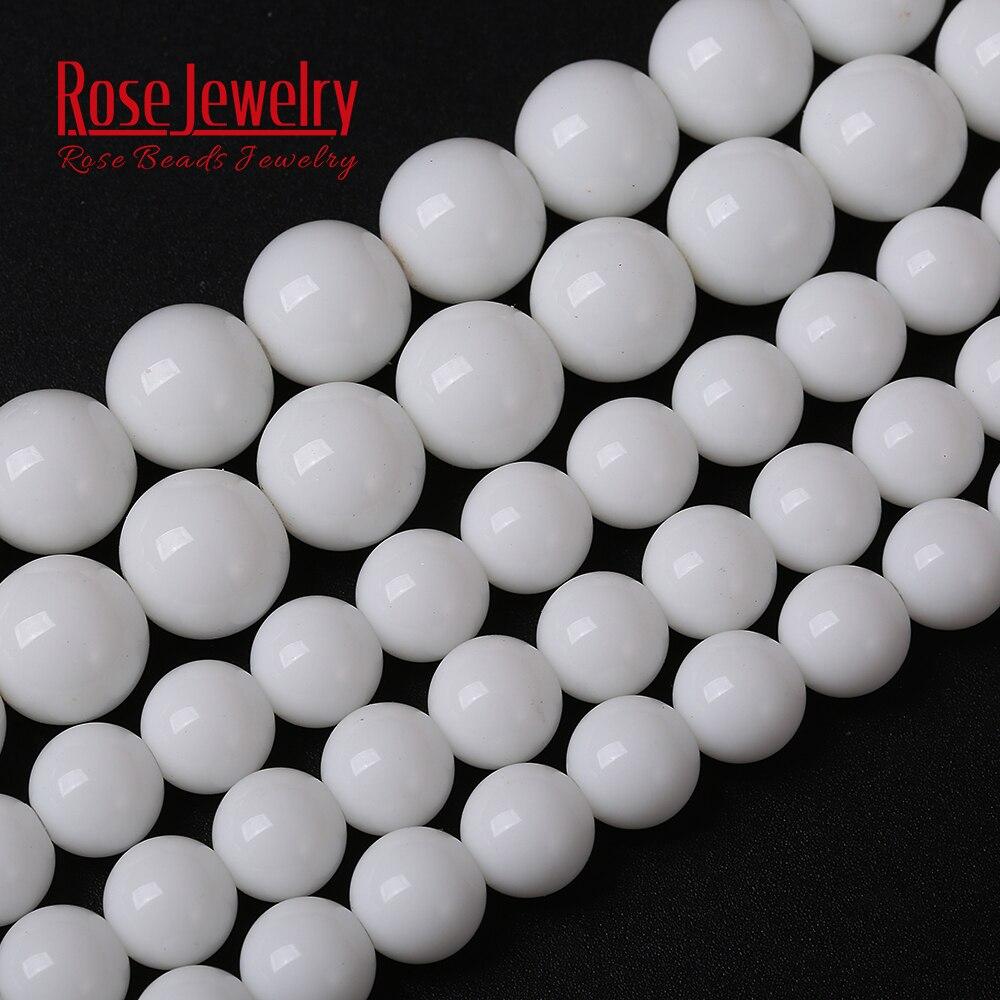 """Großhandel Glatte Weiß Glas Porzellan Runde Spacer Perlen 15 """"Strand 4 6 8 10 12 mm Größe für Schmuck, der"""