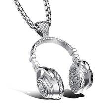 Acier inoxydable médical 3D musique casque pendentif collier populaire Hip Hop casque collier hommes femmes Rock musique cadeau bijoux