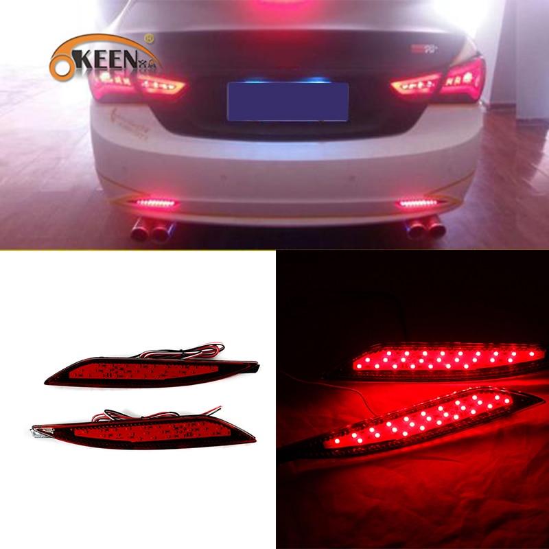 Reflector de parachoques trasero para coche OKEEN 2 uds. Para Hyundai Sonata 2011 2012 2013 2014, luces de circulación diurna LED para coche, Luz antiniebla de freno