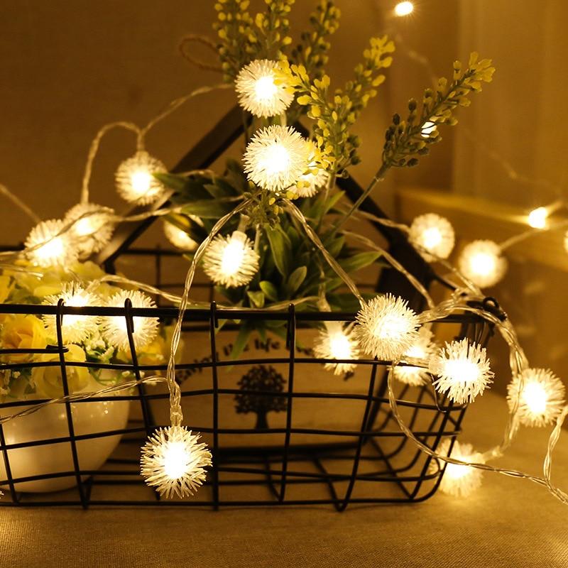 luzes de fadas guirlanda bateria operado luzes de natal dandelion led string luzes