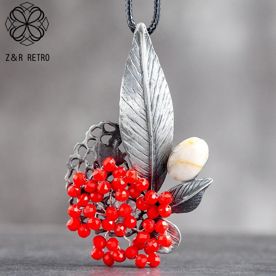 Jóias de cristal vermelho grânulos de flor pingente longo colar para as mulheres vintage planta corda suspensão cadeias gargantilha jóias por atacado