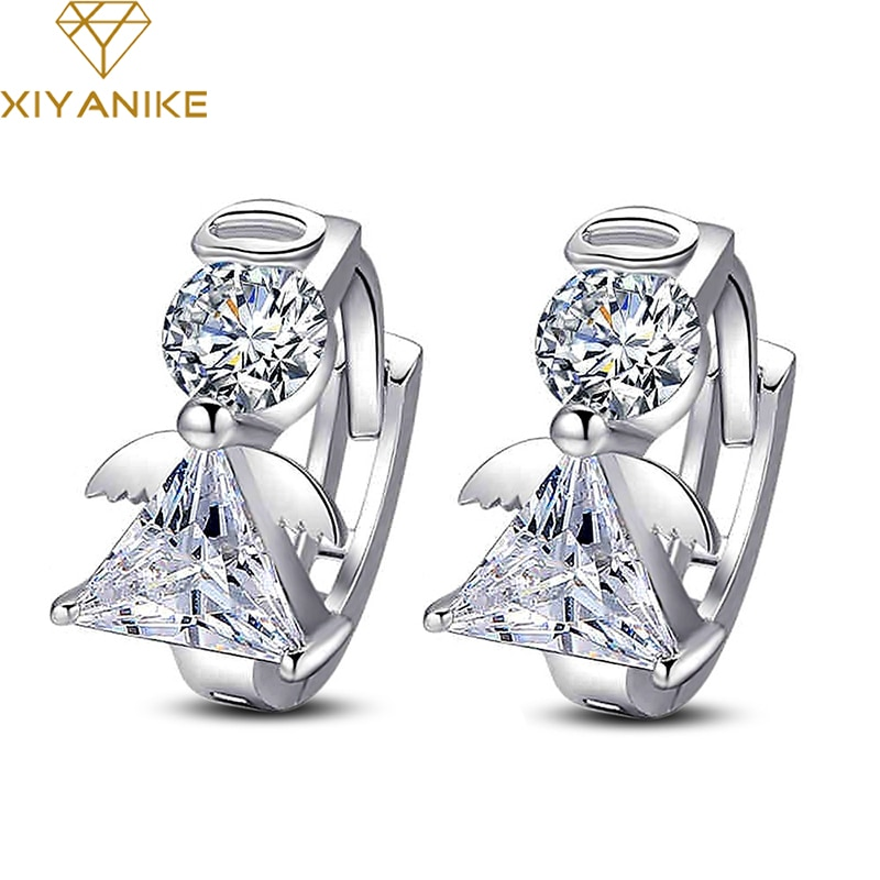 XIYANIKE 925 Sterling Silver Fashion Small Angel Hoop Earrings Female Temperament Charm Elegant Jewe