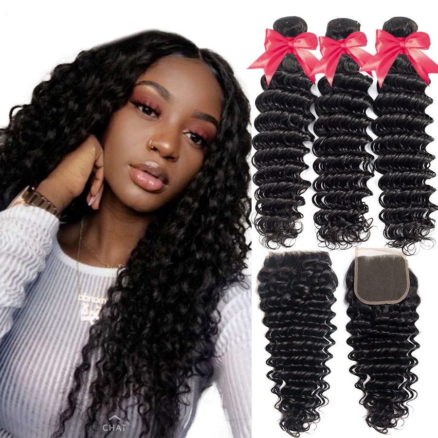 Deep Wave 3 Bundles Deal Peruvian Hair Bundles Remy Hair Extensions Human Hair Bundles With Lace Closure No Tangle No Shedding
