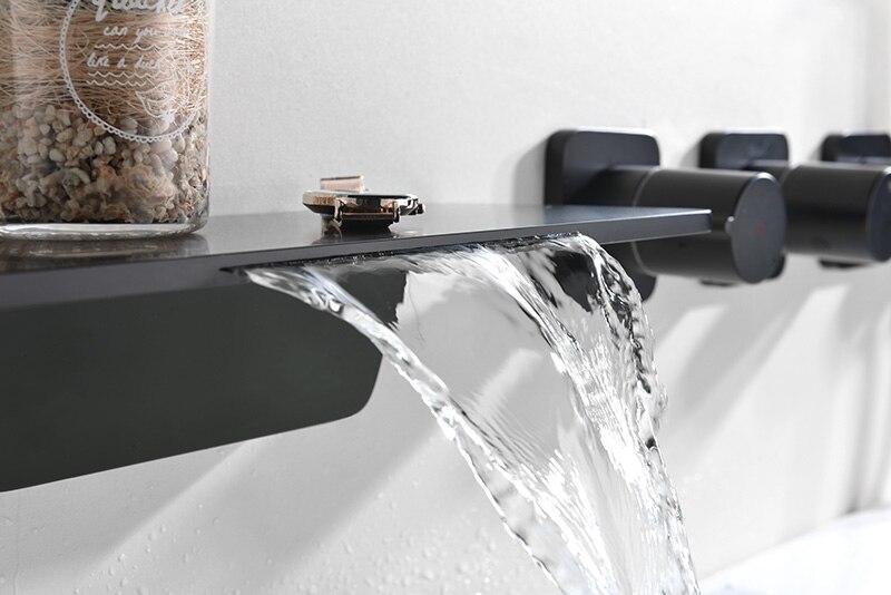 cascade salle de bain baignoire robinet ensemble laiton chrome noir bain douche ensemble froid et eau chaude melangeur evier mural robinets