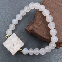 natural round beads stone small crystal cluster gold color square shaped bracelet dyed color druse quartz women men jewelry