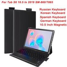 Clavier russe sans fil pour Samsung Galaxy Tab S6 10.5 en 2019 SM-860/T865 tablette clavier Bluetooth claviers magnétiques coréens