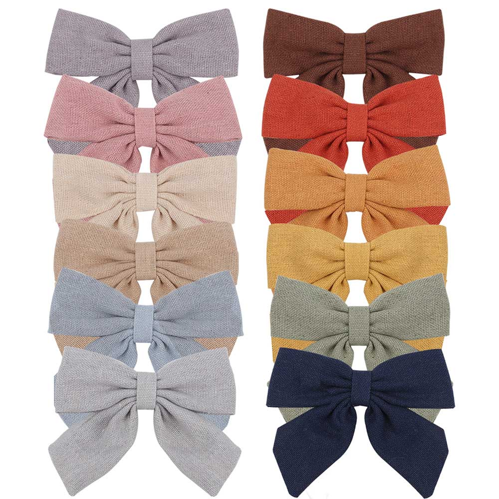 2021 New Solid Cotton Hiar Bows With Clip For Baby Girls Hair Clips Barrettes Hairpins Accessories Kid Handmade заколки