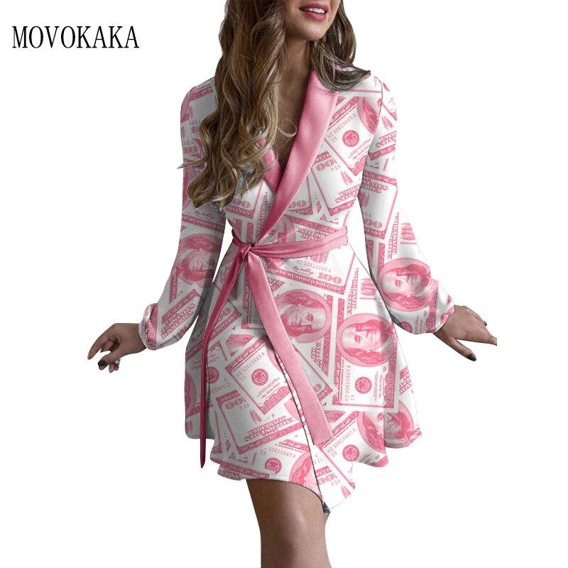 MOVOKAKA Pink Print Slim Autumn Dress Women 2021 Vintage Elegant Long Sleeve Dresses Woman Tied Belt Chic Sexy Dress Women dress gauzy raglan sleeve crane pattern tied dress