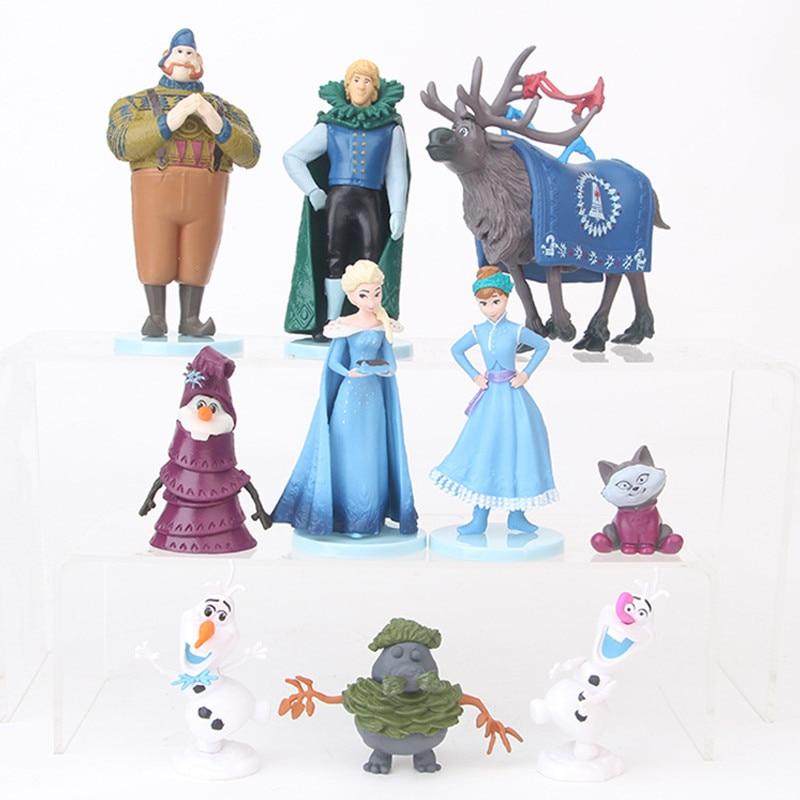 10 unids/set Frozen2 figuras Anna Elsa figuras de acción juguetes Snow Queen PVC Anime en miniatura juguete Colección Hans regalo niños Juguetes