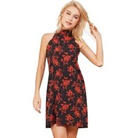 red printed women mini dress halter neck sleeveless summer lace up party elegant dresses