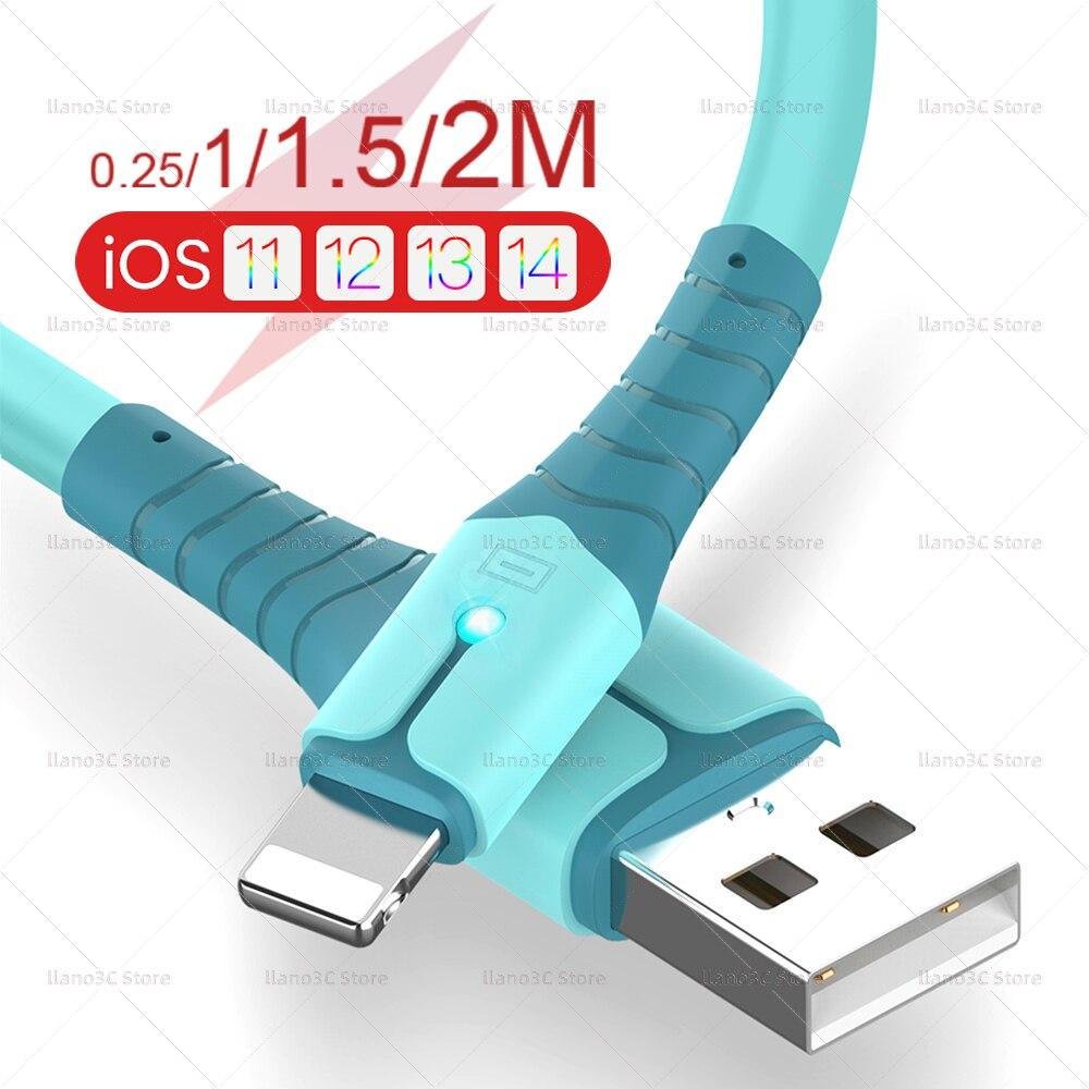 Cable de datos USB para móvil, cargador de silicona líquida para iPhone...
