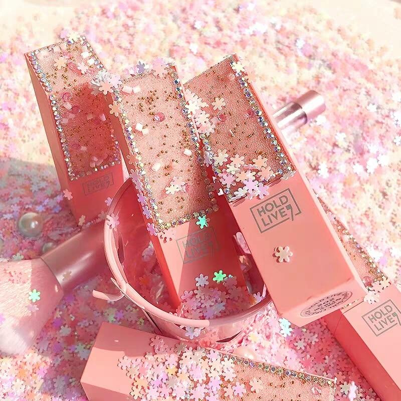 HoldLive Pink Flower Diamond Girls' Lipstick 6 colors Sexy Red Lip cream Waterproof Long-lasting