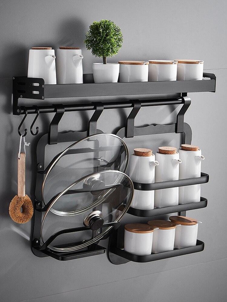 أسود التوابل رف رف مطبخ معلق على الحائط جهاز تخزين الرف دون ثقوب