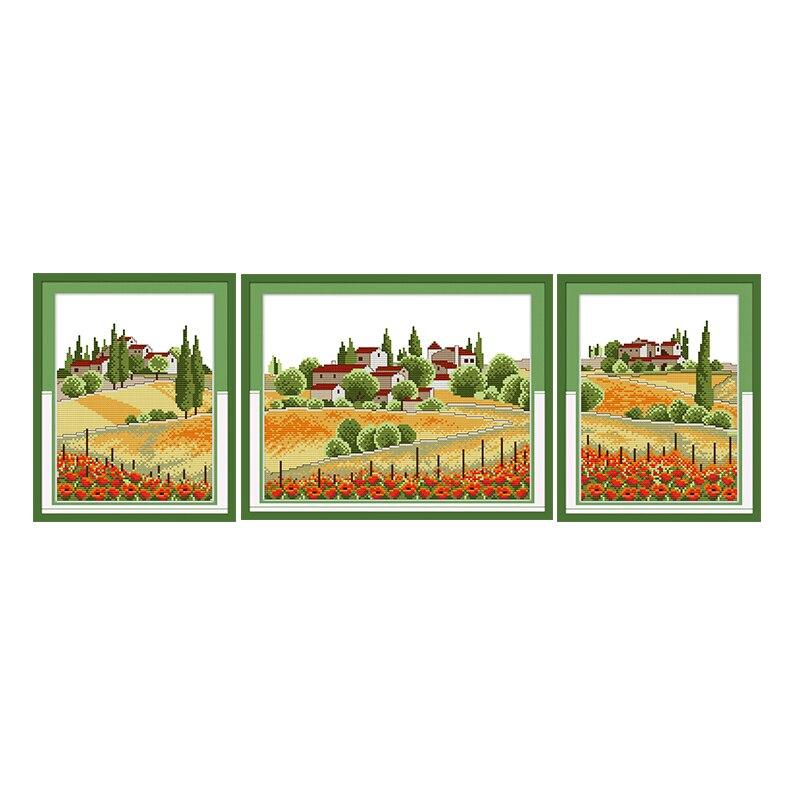 Joy Sunday hilo de algodón pintura escénica vista del país punto de cruz Kits 11CT14CT contrajo decoraciones del hogar Juegos de costura