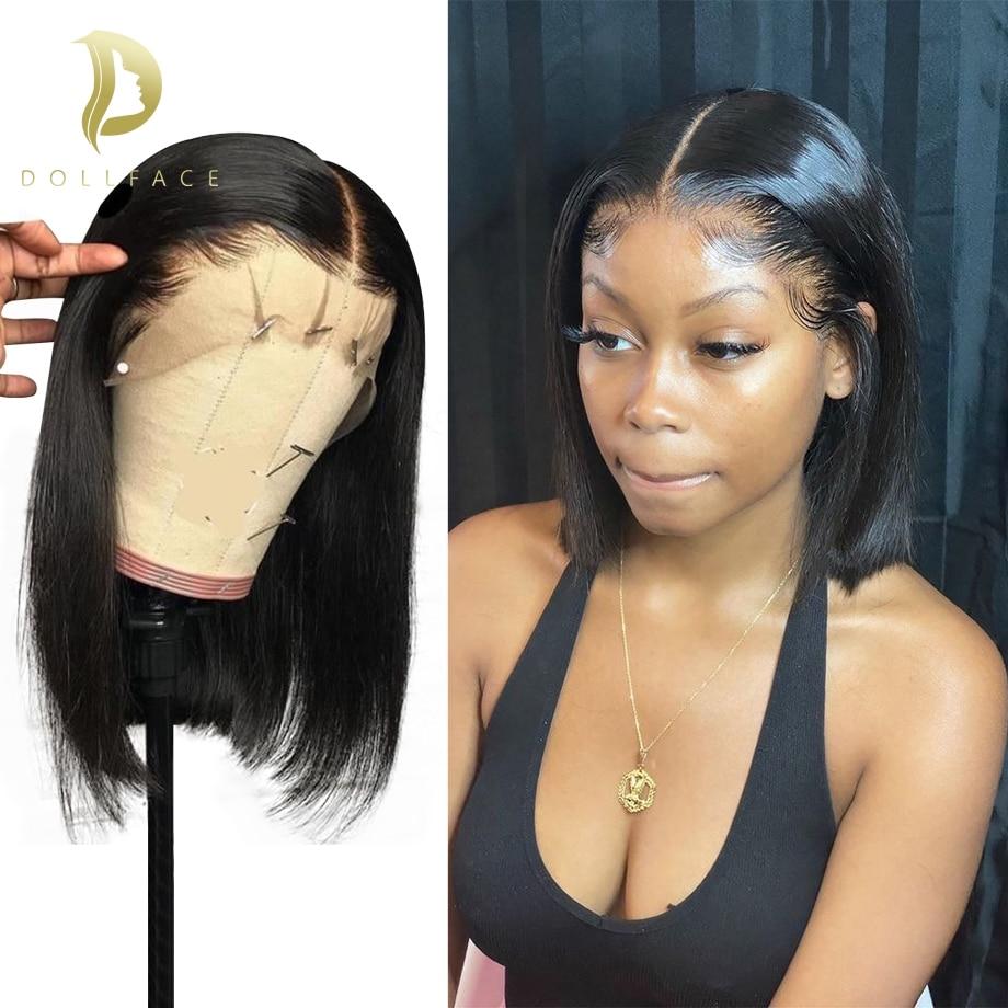 Bob Wig Short Brazilian Bone Straight Cheap Human Hair Wigs For Black Women Black Wig T Part Lace Bob Human Hair Wig Pre Plucked