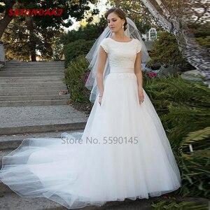 Simple Lace Wedding Dress 2020 Country Style Boho Tulle Puffy Garden Beach A Line Bridal Gown Vestido De Novia Online Shop India