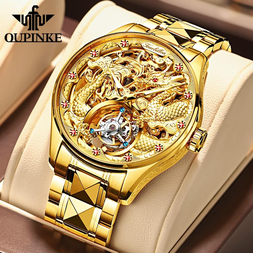 OUPINKE Real Tourbillon Mechanical Skeleton Watch Gold Sapphire glass Watches Rotary  Hand Wind Wristwatch Man Clocks 3176G