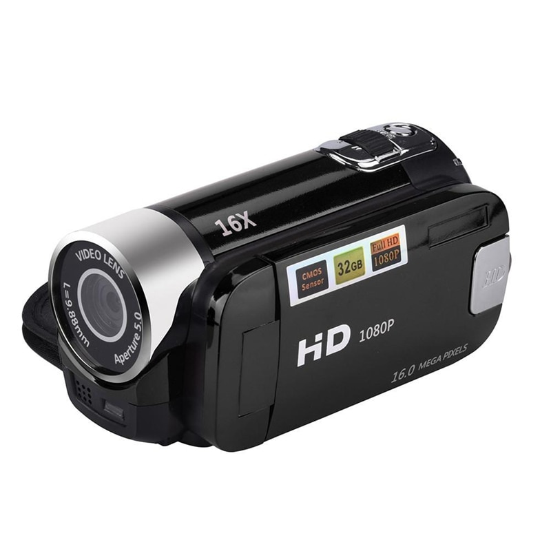 2,4 pulgadas TFT Sn 16X Zoom Digital DV videocámara HD 1080P cámara Digital de mano Cmos Sensor hasta 32 GB SD (negro)
