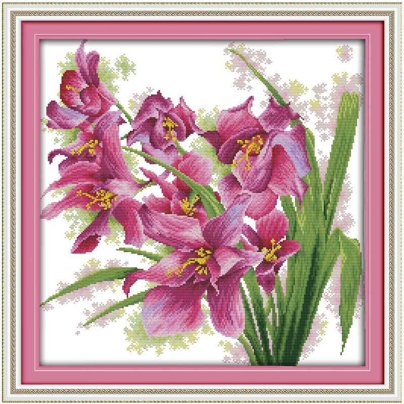 Juego de bordado de flores de orquídeas con estampado de cuentas en lienzo de 11CT y 14ct, juegos de costura hechos a mano