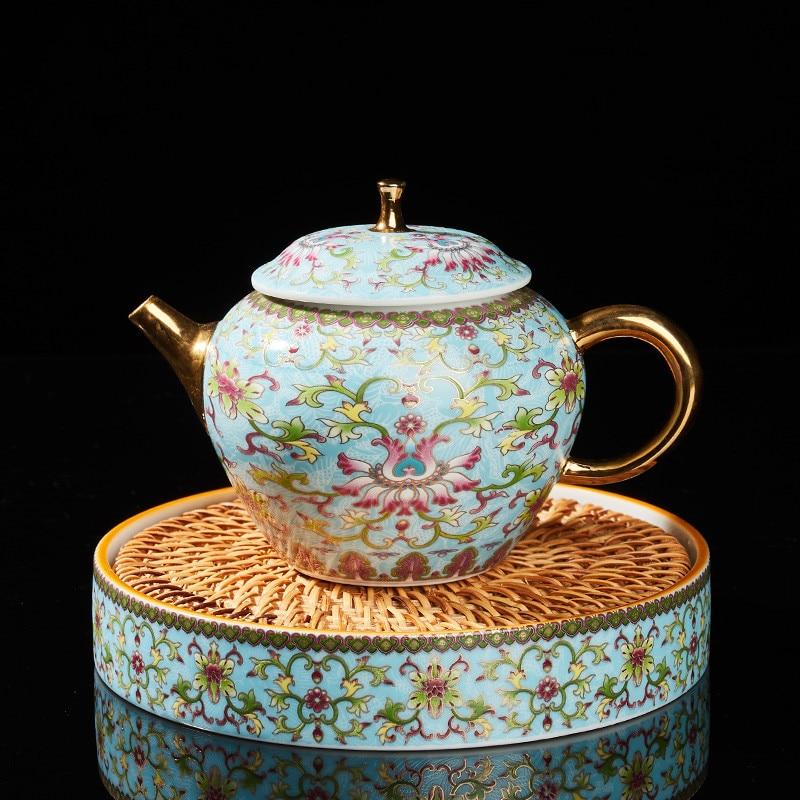 طقم شاي فاخر من السيراميك المينا إبريق شاي فنجان شاي مع وسادة أدوات الشراب للمنزل أو المكتب TS20110702