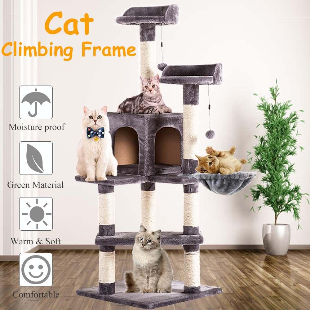 Rascador para gato de lujo marco grande de escalada para gatos colgando pelotas esponjosas juguetes casa Multi-funcional gato árbol tabla Condo