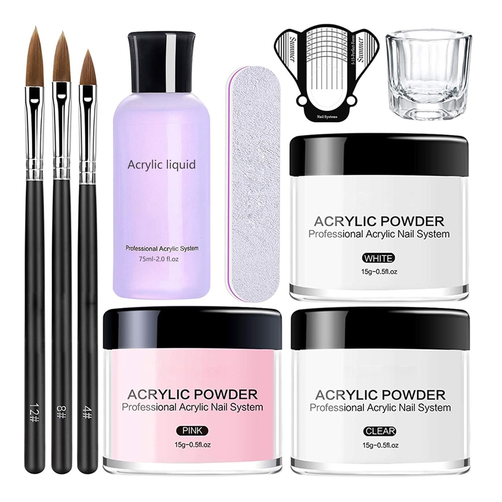 AliExpress - Professional Monomer Acrylic Powder and Liquid Nail Art Decoration  Manicure Kit Crystal Glitter Extension Nail Tips Carving GY8